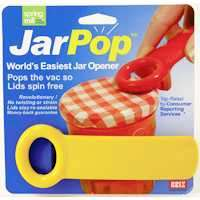 The World's Easiest Jar Opener - The Original!  Patented and design awarded jar opener that fits all traditional preserving jars. The JarKey is placed against the lid of the jar, and with a slight lift, the vacuum is released, and the lid can now easily be unscrewed.